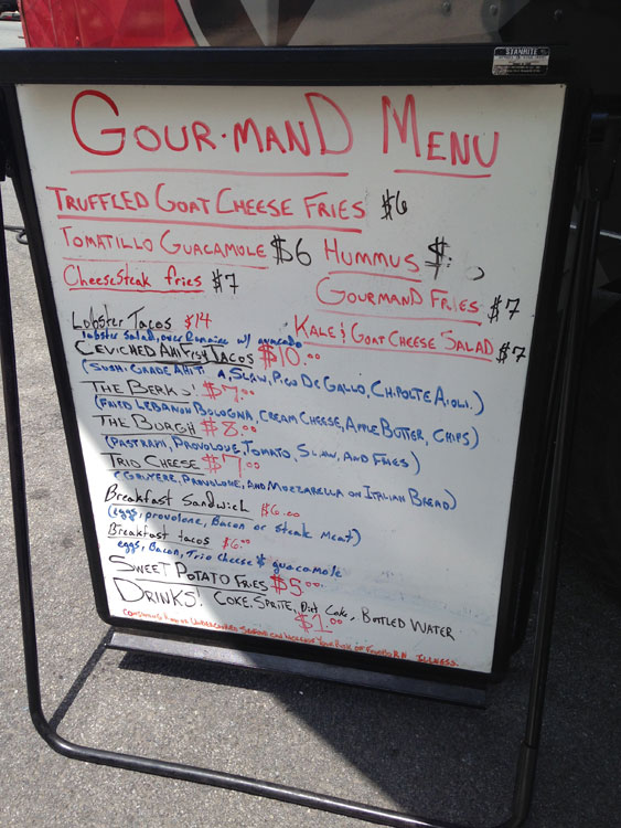 Gourmand Food Truck Menu