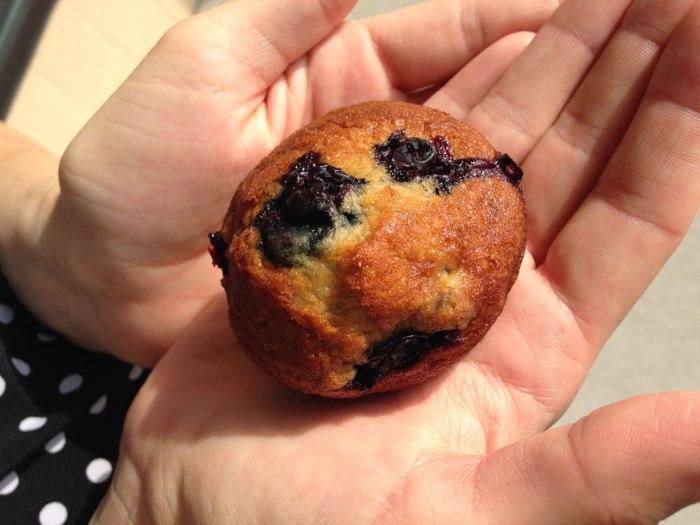 Julie taking her gluten free muffin to go.