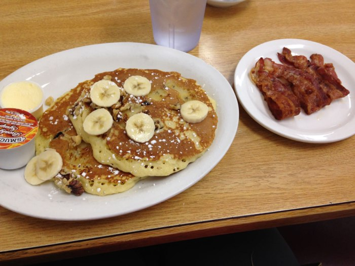 Banana nut pancakes and bacon. Don't forget the bacon.
