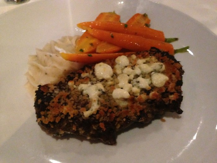 An eight-ounce filet topped with gorgonzola gratin