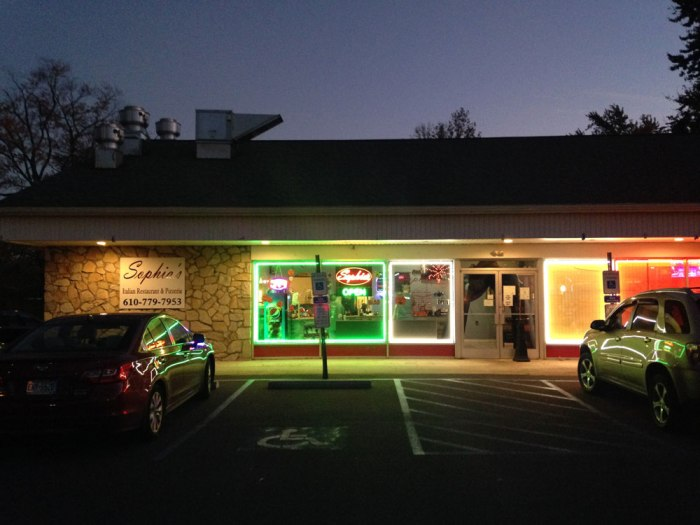 Sophia's Restaurant & Pizzeria is located in a former gas station just east of Reading, Pa.