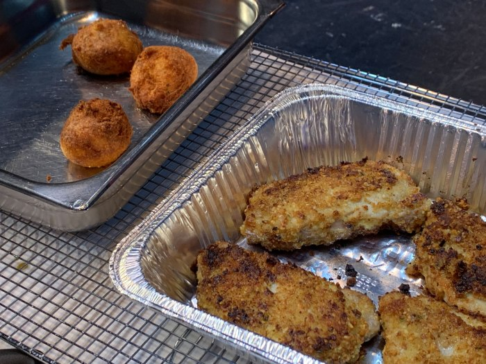 Chef Michael Martino's finished pork chops and pineapple croquettes