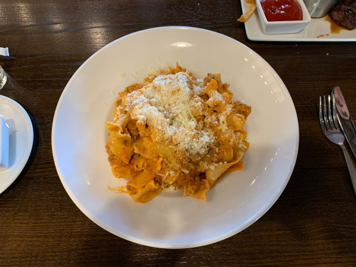 A big bowl of pasta Bolognese from B2 Bistro.